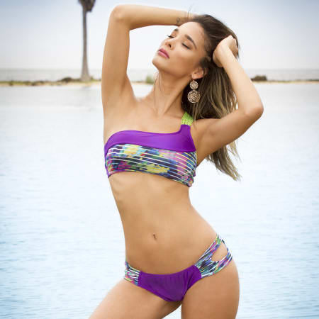 One Shoulder Bikini Purple