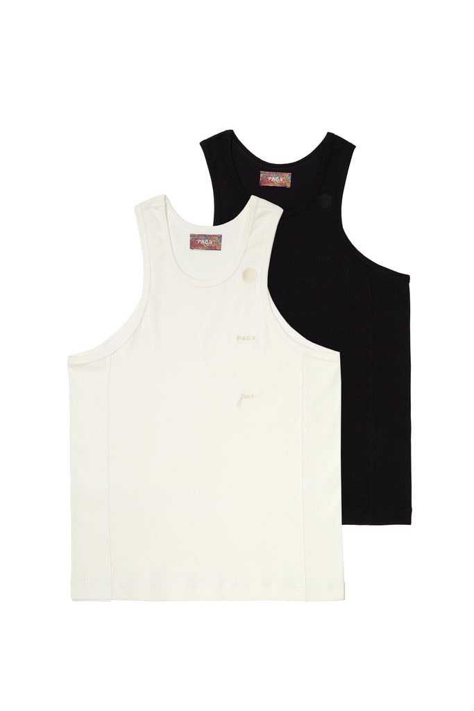 PACK 2 TANK TOP RIB BASIC BLACK/OFF WHITE