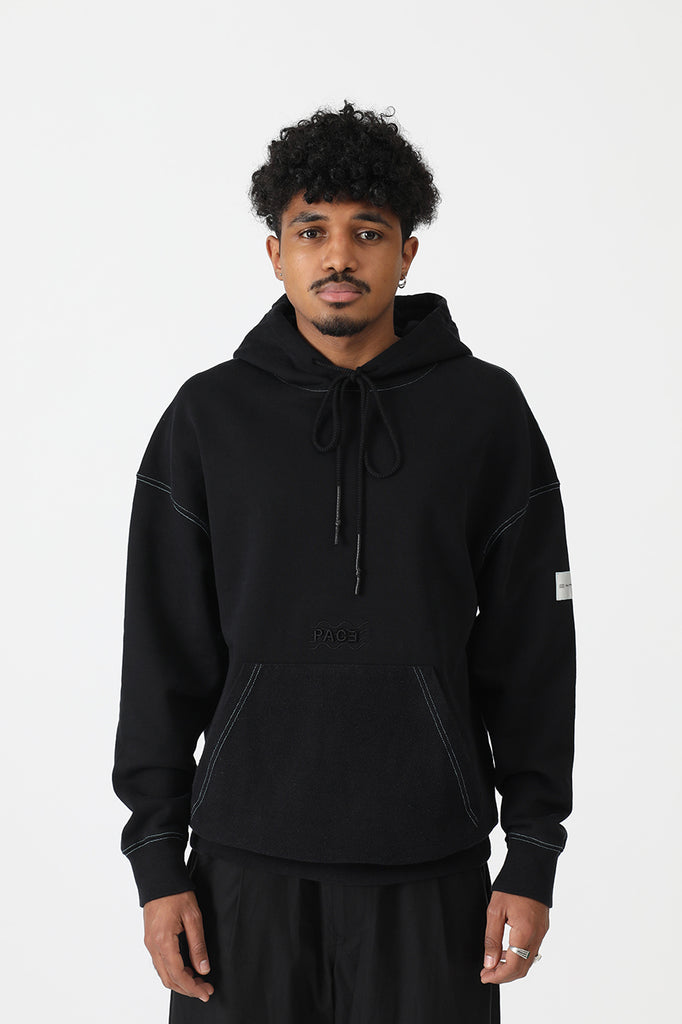 HOODIE COLORED SEAMS PACEXRM BLACK
