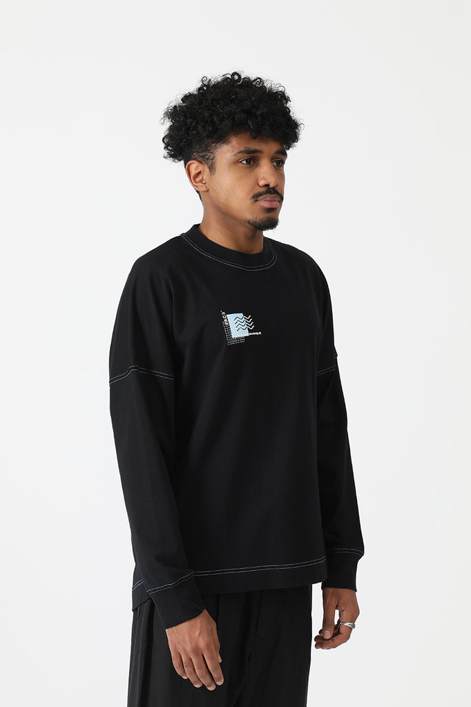 LONGSLEEVE COLORED SEAMS PACEXRM BLACK