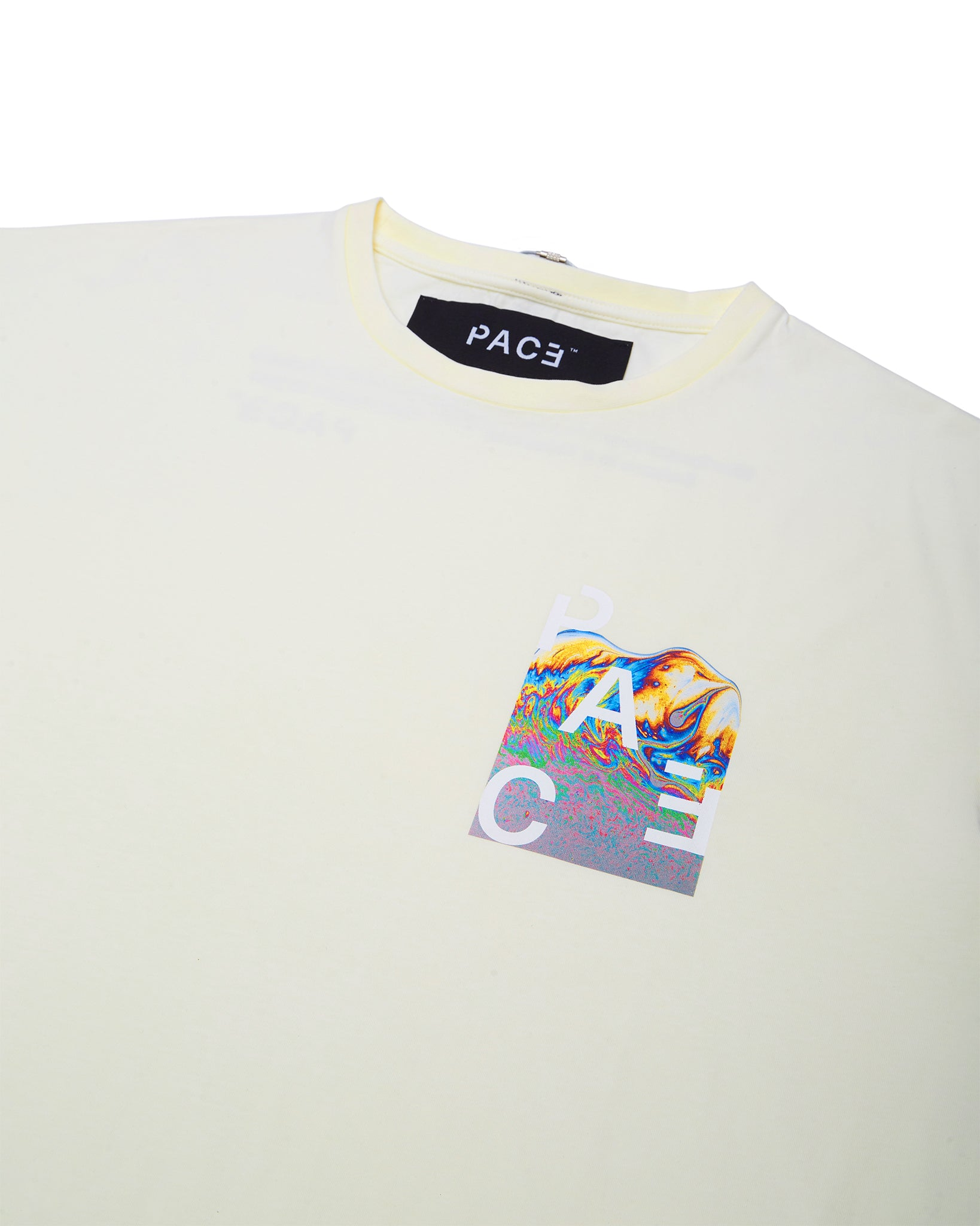 MRBSH2 T-SHIRT OFF WHITE PACE ™ (camiseta off white com arte no lado esquerdo frente)