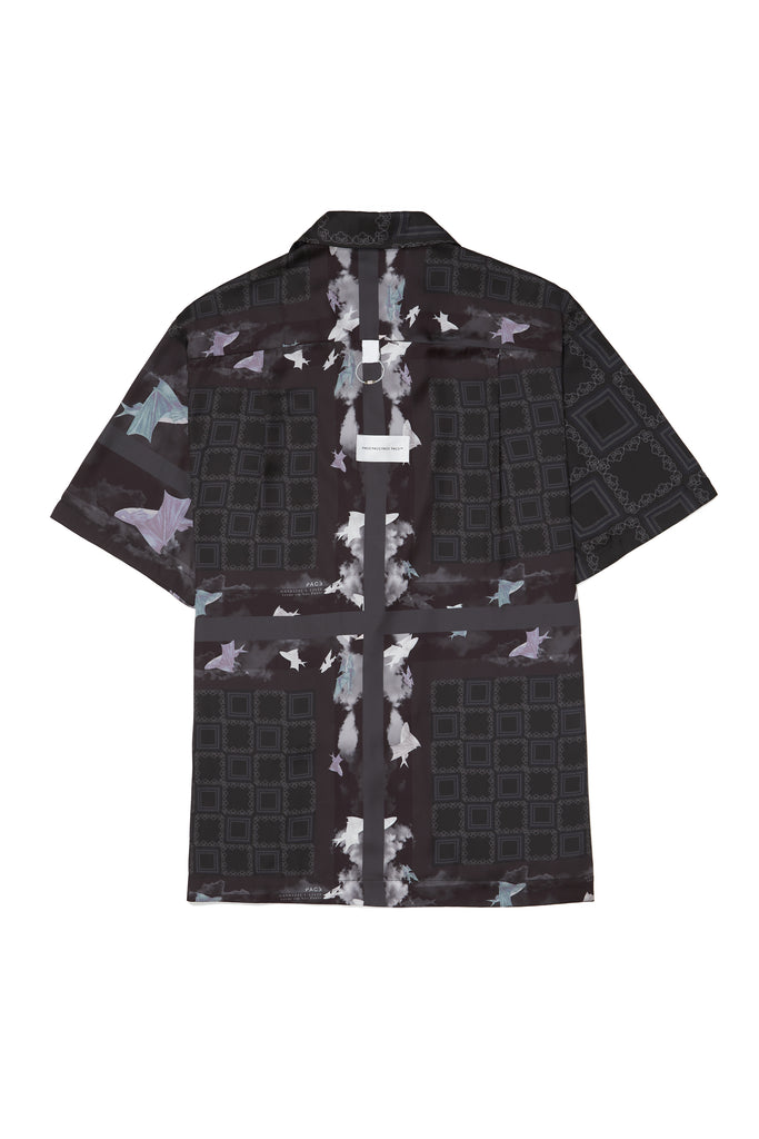 CAMP SHIRT FISH SILK BLACK