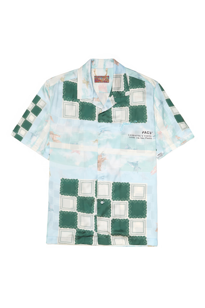 CAMP SHIRT FISH SILK BLUE