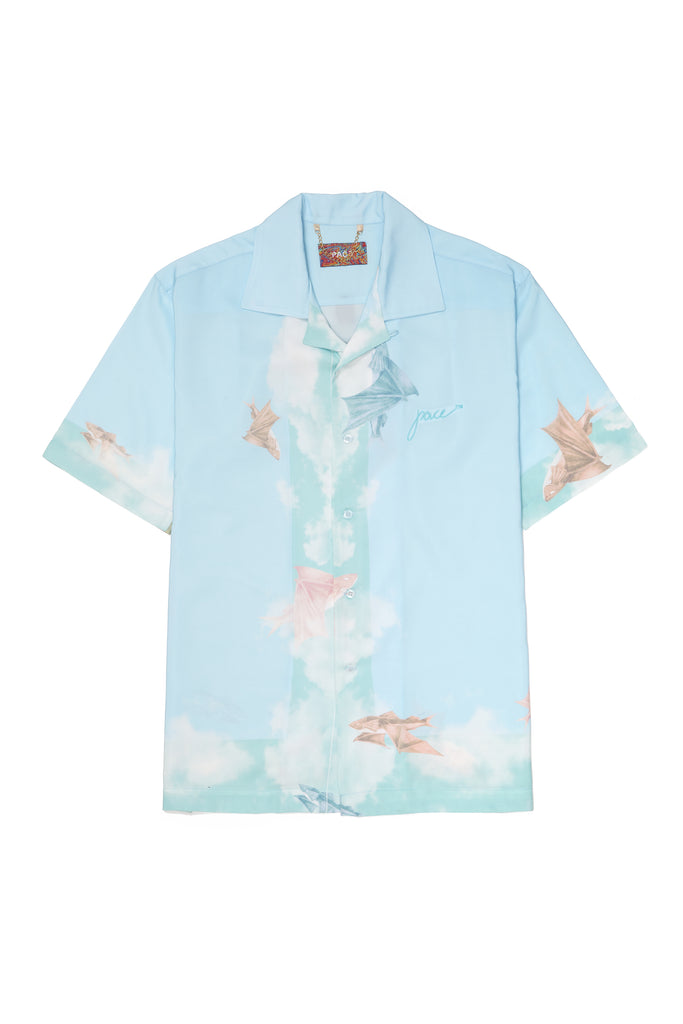 CAMP SHIRT FLYING FISH BLUE