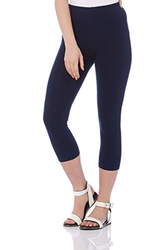 Roman Originals Women Cotton Cropped Leggings - Ladies Daytime Yoga Gym Active Going Out Stretch Capri Trousers - Blue - Navy - Size 14