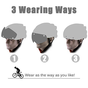 Cycle helmets,LEADFAS Bike Cycling Helmet with Detachable Magnetic Goggles Visor Shield Adjustable Unisex Men Women Road Mountain Safety Protection Biking Bicycle Helmet
