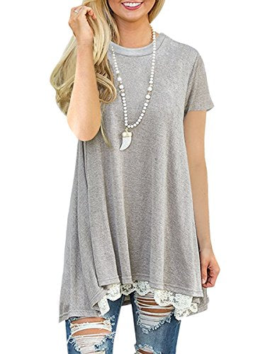 NICIAS Womens Lace Casual Short Sleeve Tunic Tops Loose Blouse T Shirt Light Grey XXL