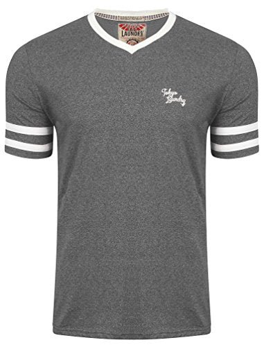 Tokyo Laundry Beaver Lake Grindle V Neck T-Shirt in Beluga Grey/Ivory Slub L
