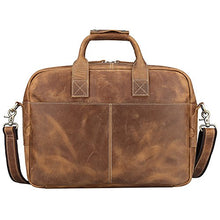 S-ZONE Men's Vintage Genuine Leather 17 inch Laptop Briefcase Bag (Brown)