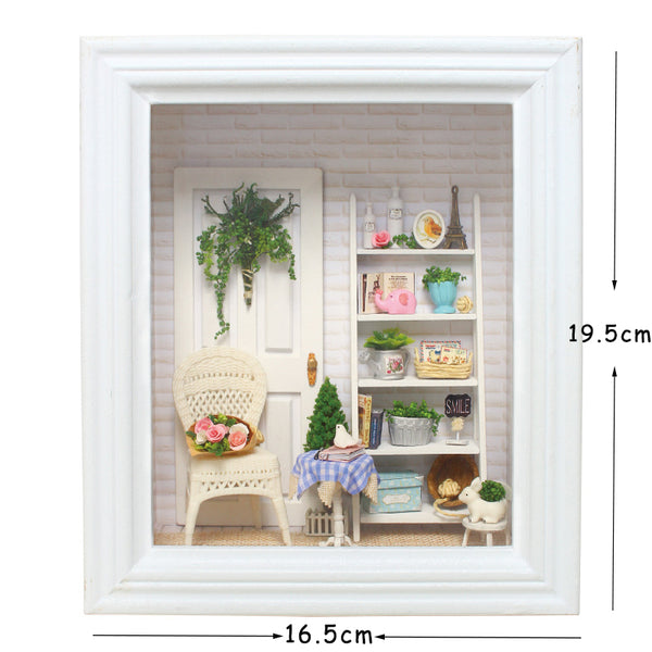 Doll House Frame Miniature With Furniture Diy Wooden Toys For