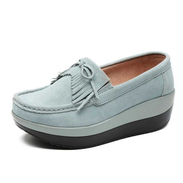 cb855b89b7e77e Spring Women Sneakers Slip On Flats Shoes Leather Suede Ladies Loafers  Moccasins Casual Shoes