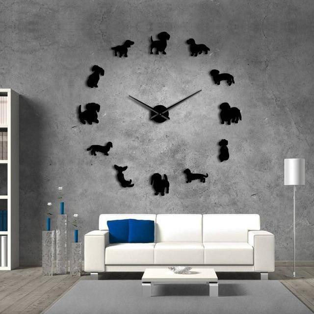 DIY Dachshund Wall Art Wiener-Dog Pet Frameless Giant Wall Clock With Mirror Effect - iDigiBay