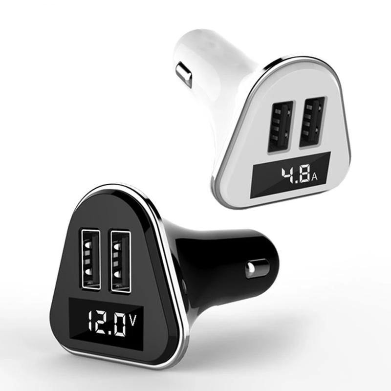 Dual USB Universal ABS+PC LED Screen Car Charger with Voltage Display - iDigiBay