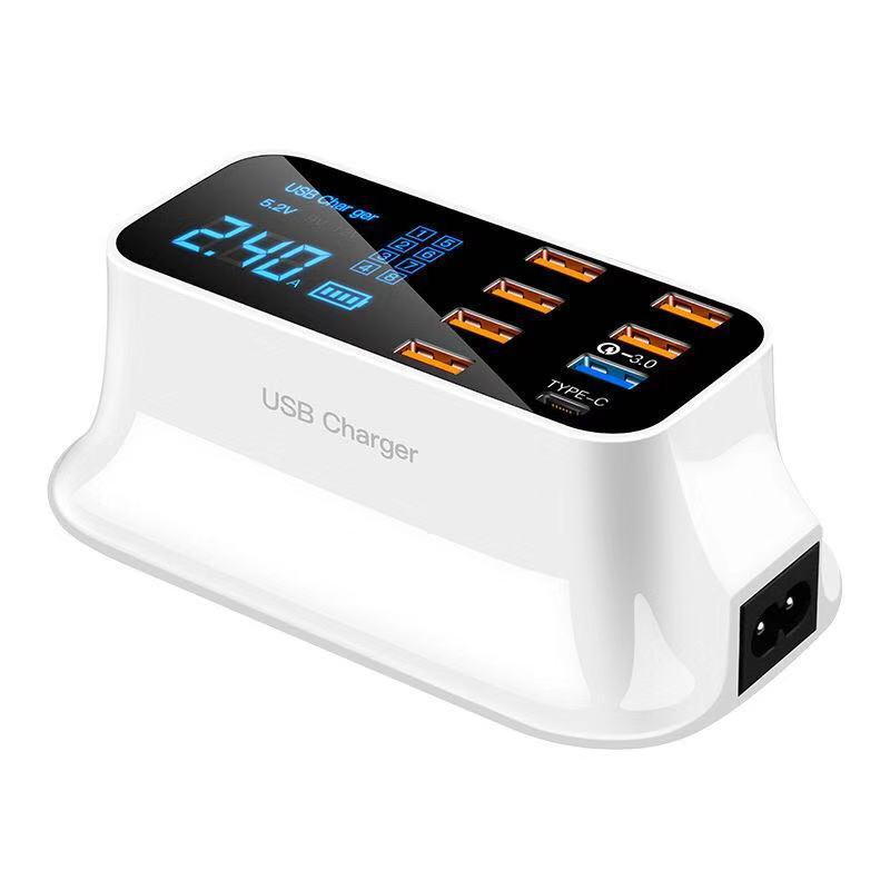Portable 8 Ports LED Display Desktop Quick Charge 3.0 Smart USB Charger Station