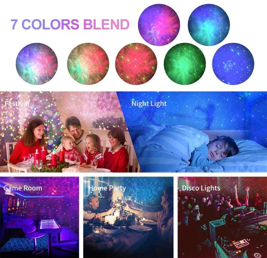 Laser Galaxy Starry Sky Projector Rotating Water Waving Night Light Led Colorful Nebula Cloud Lamp - iDigiBay