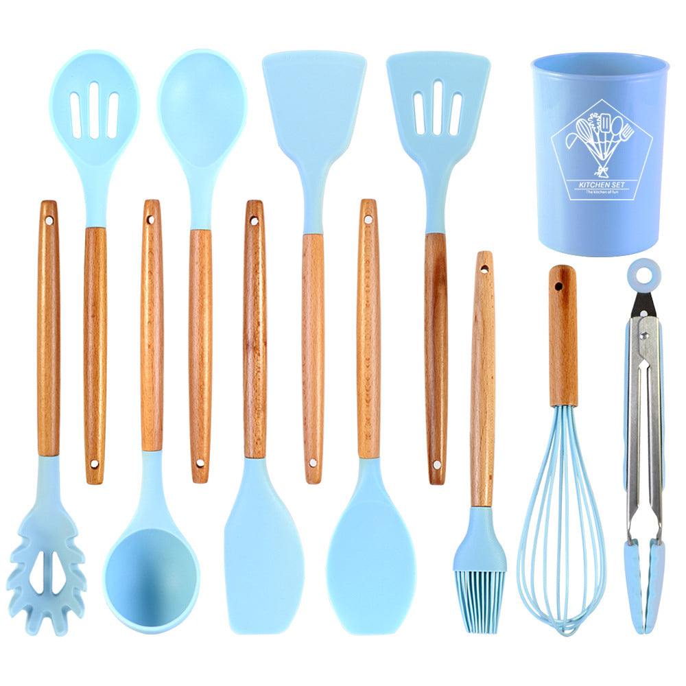 Non-stick Silicone Cooking Baking Utensils Set Spatula Spoon Wisk Brush kitchenware Set