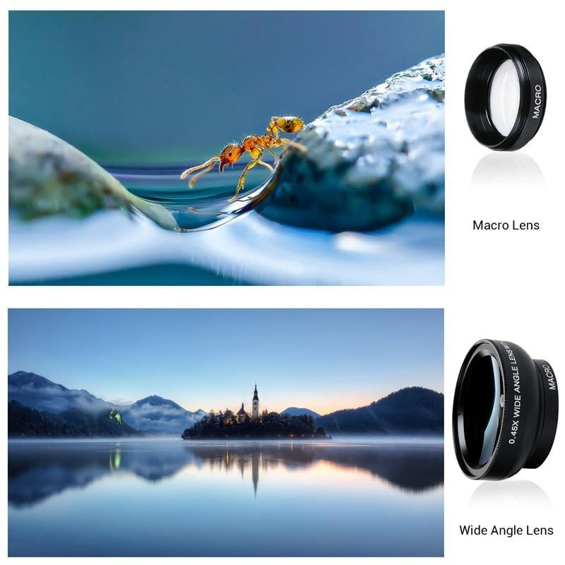 Professional HD Phone Camera Lenses 0.45X Wide Angle 12.5X Macro Lens With Clip - iDigiBay