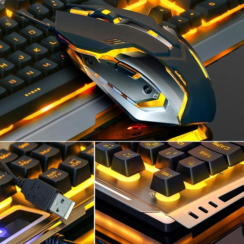USB Wired Metal Ergonomic Backlight Mechanical Feel Gaming Keyboard Mouse Set with Aluminum Alloy Panel - iDigiBay