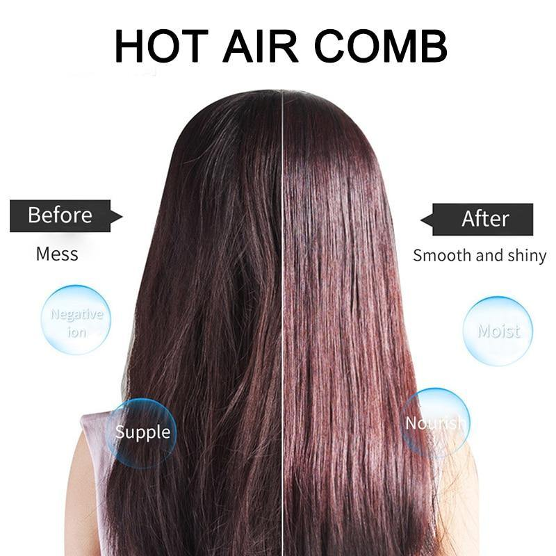 One Step Hair Dryer & Volumizer Salon Hot Air Styling Brush Negative Ion Generator Hair Straightener Curler - iDigiBay