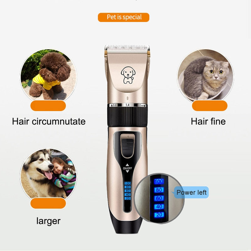Professional Rechargeable Low-Noise Battery Display Pets Grooming Clipper Kit
