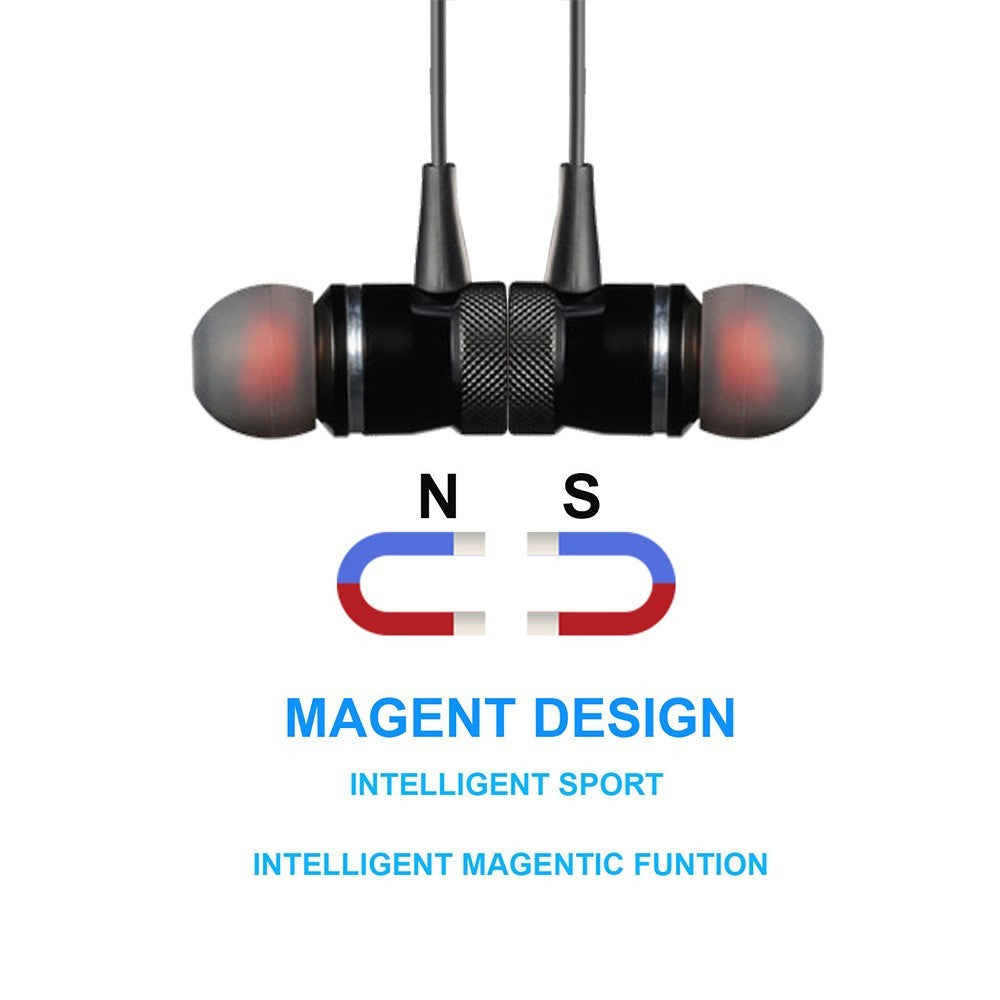 Black High Quality Metal Magnetic Intelligent Noise Reduction Wireless Earphones