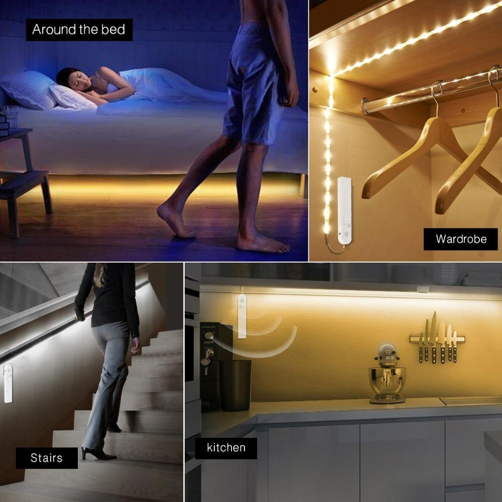 Motion Sensor LED Lights For Kitchen Under Cabinet/Bed/Stairs/Wardrobe Night Security Lamp Battery Power Lamp - iDigiBay