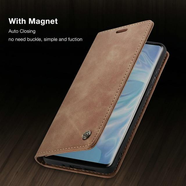 Leather Wallet Case For Huawei P30 Pro Magnetic Retro Card Stand Flip Cover - iDigiBay