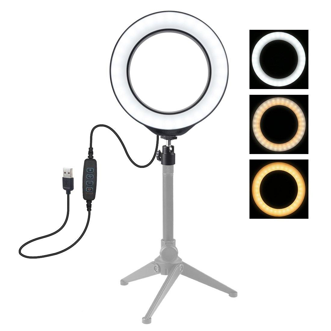 4.7 inch USB 3 Modes Dimmable LED Ring Vlogging Photography Video Lights - iDigiBay