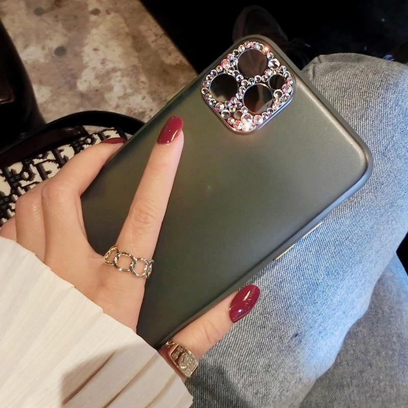 Midnight Green Bling Diamond Camera Protection Matte Cover For iPhone 11 Pro Max X XR XS 8 7 6s Plus - iDigiBay