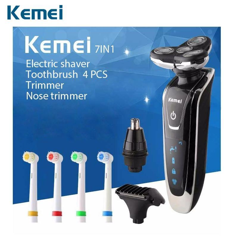 Kemei Rechargeable Men's Electric Shaver 4 In 1 Shaving Machine Set Hair Nose Trimmer Toothbrush - iDigiBay