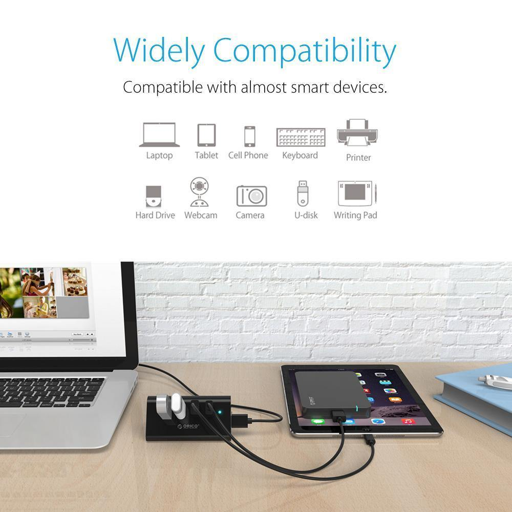 High Speed Mini 4 ports USB 3.0 5Gbps HUB with Phone Tablet Holder - iDigiBay