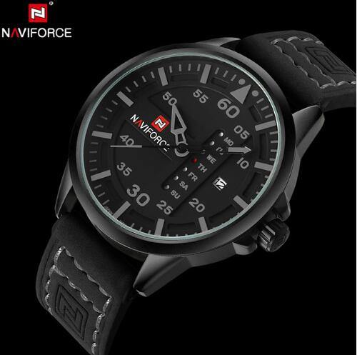 NAVIFORCE Men's Leather Strap Military Quartz Watch - iDigiBay