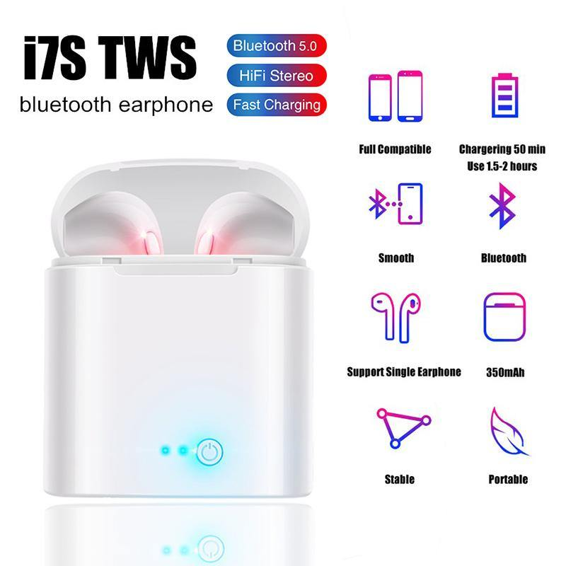 I7s TWS Wireless Bluetooth 5.0 Earphones with Mic for Iphone Samsung S6 S8 + Xiaomi Huawei LG phones - iDigiBay