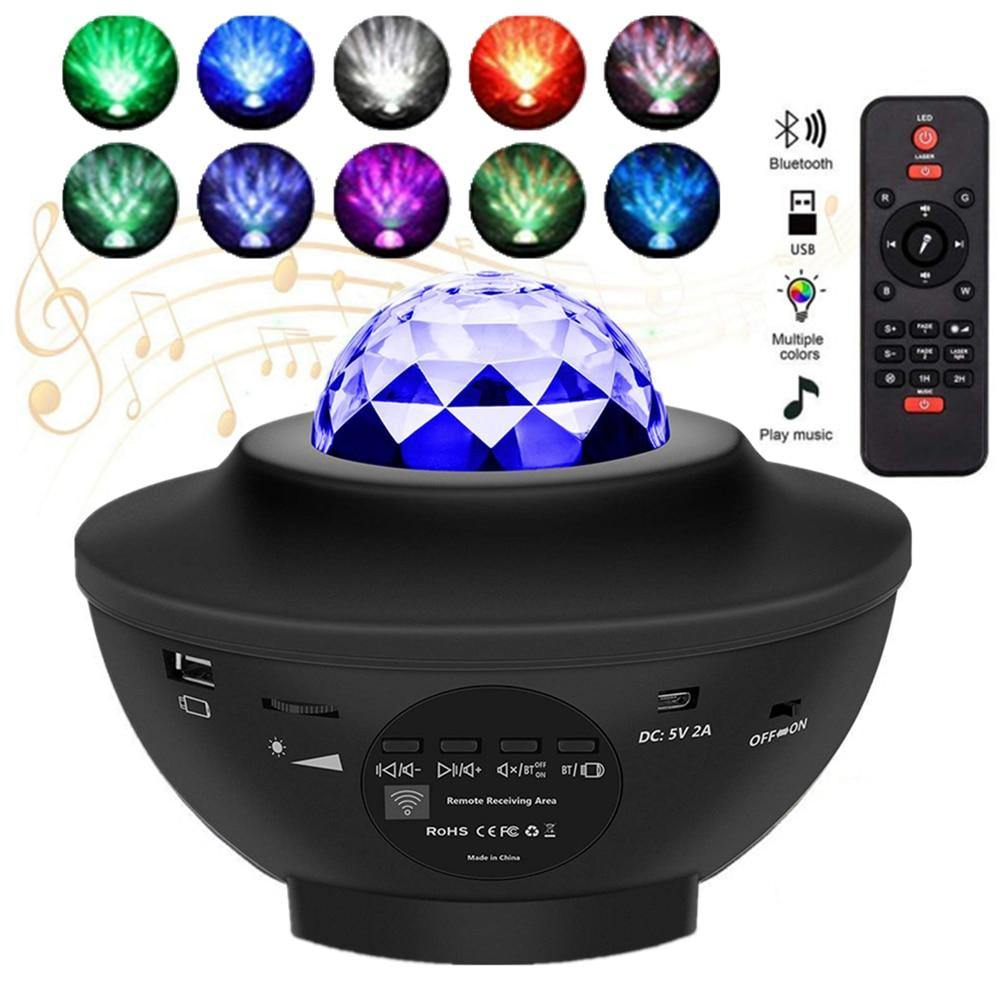 Galaxy Starry Night LED Projector Lamp Ocean Wave Projector with Music Bluetooth Remote Control Kids Gift - iDigiBay