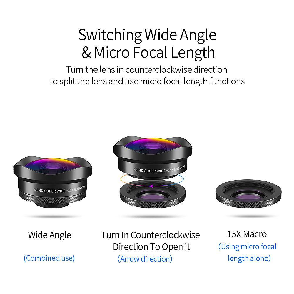 Essager 4K Wide Angle Macro Lens for iPhone Huawei - iDigiBay