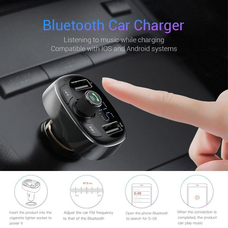 FM Transmitter Aux Modulator Bluetooth Handsfree Car Audio MP3 Player Phone Charger - iDigiBay