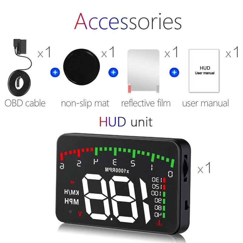 Head-Up Windshield Speed Display with Overspeed Alarm System - iDigiBay