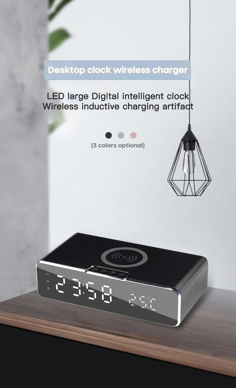 LED Desktop Digital Alarm Clock With Wireless Phone Charger - iDigiBay