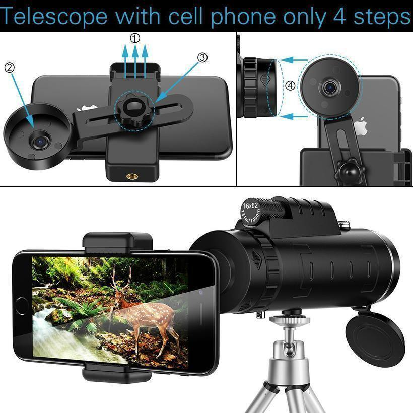 40X60 Zoom for Smartphone with Compass Phone Clip Tripod - iDigiBay