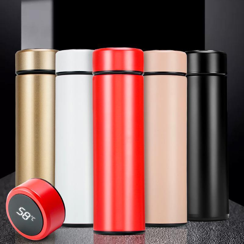 LED Temperature Display Bottle Stainless Steel Thermos Tea Filter - iDigiBay
