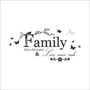 Family Love Never Ends Quote Vinyl - Mary's Faith