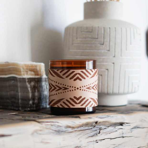 Leather Wrap Soy Candle- Arrows