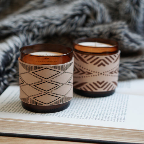 Leather Wrap Soy Candle- Diamonds