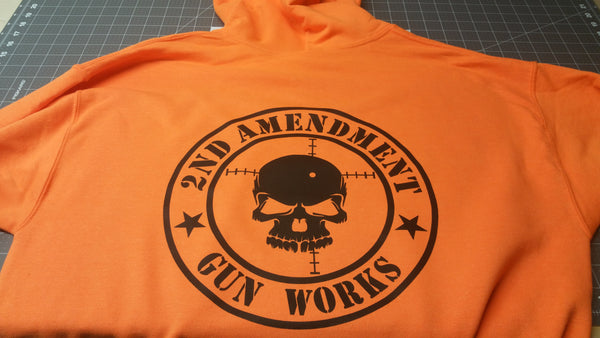 Safety Orange Hi Viz Safety Work Gear 2AGW Hoodie Hooded Sweatshirt - 2nd Amendment Gun Works