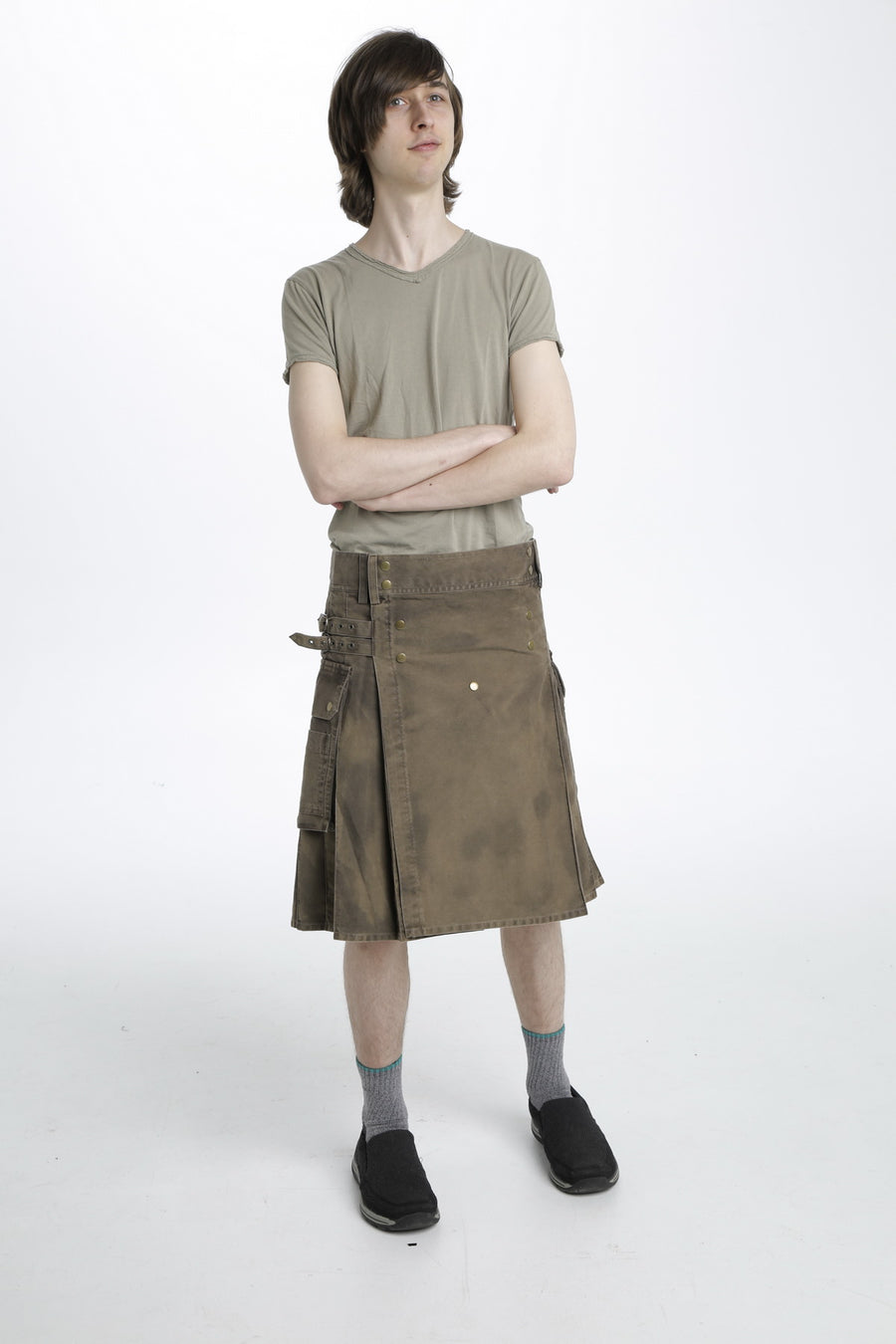 Stonewashed Cotton Utility Kilt