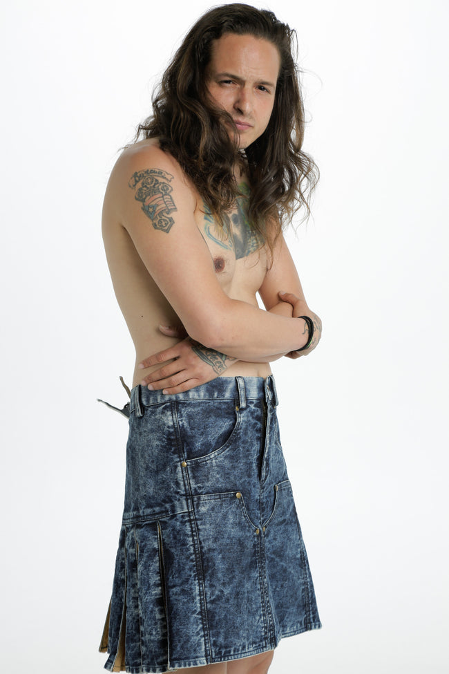 stonewashed denim hybrid kilt side view