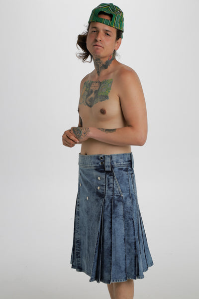 blue denim kilt