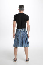 denim kilt back view