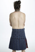 denim pleats kilt