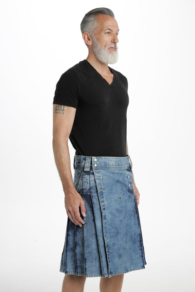 denim hybrid kilt side view